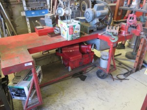 "6'x3' Bar Shaped Metal Work Bench With 4"" Columbian Vice"