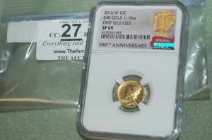2016 W Gold 100th Anniversary of Mercury Dime  1/10th oz. 24 K  NGC  SP-69-First Release