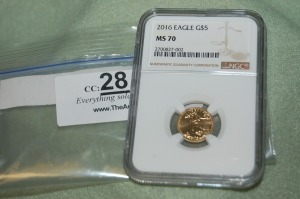2016 Gold American Eagle $5-NGC  MS  70