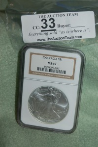 2004 $1 Eagle Pure Silver 1 oz.  NGC  MS 69