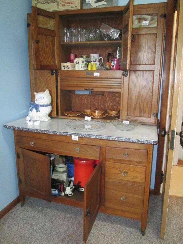 Antique oak Hoosier cabinet, with porcelain enamel top and ...