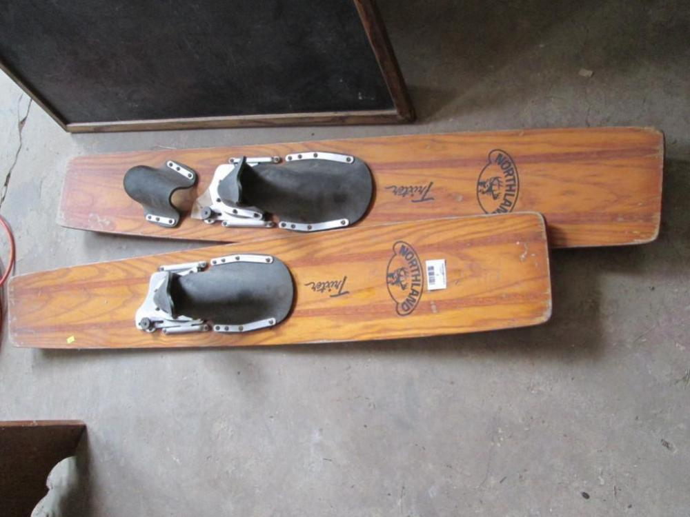 Pair Of Antique Northland Trixter Wood Water Skis 48 L Cur Price 31