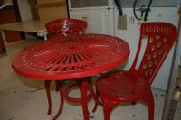 Red Aluminum Table And Chairs