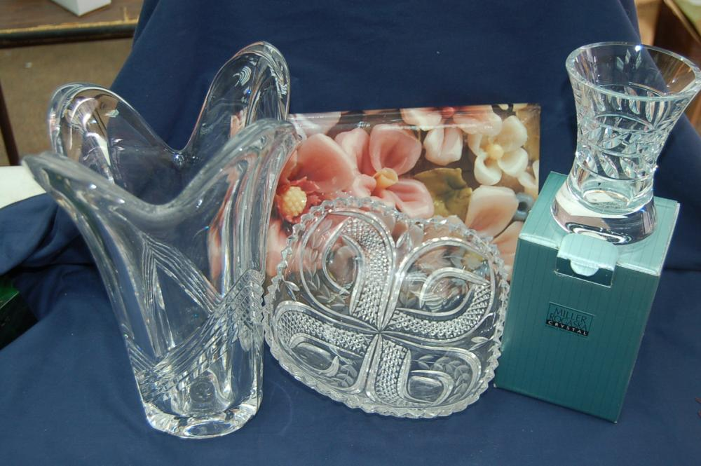 3 Pieces Of Crystal One Is A Miller Rogaska Vase Current Price 15